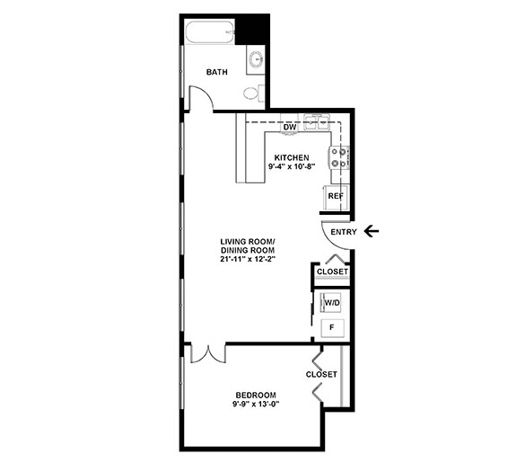 One Bedroom Floor Plan A1